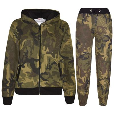 A2Z Trendz Kids Tracksuit Boys Girls Designer's Green Camouflage Print Zipped Top Hoodie & Botom Jogging Suit Age 5 6 7 8 9 10 11 12 13 Years