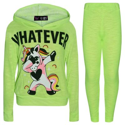 A2Z Trendz Kids Girls Tracksuit Designer's Whatever Dabbing Unicorn Floss Neon Green Two Piece Hooded Top & Bottom Legging Sets Loungewear Nightwear Outfit Set New Age 7 8 9 10 11 12 13 Years