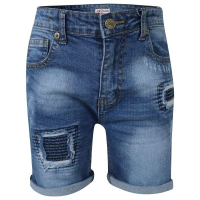 A2Z Trendz Kids Boys Shorts Designer's Mid Blue Denim Ripped Chino Bermuda Jeans Shorts Casual Knee Length Half Pant New Age 5-13 Years