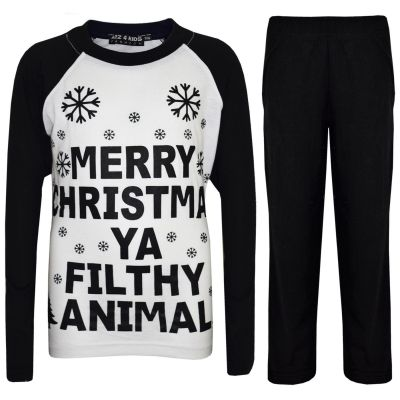 A2Z Trendz Kids Girls Boys PJS Merry Christmas Ya Filthy Animal Print Black Christmas Pajamas Set Age 2 3 4 5 6 7 8 9 10 11 12 13 Years