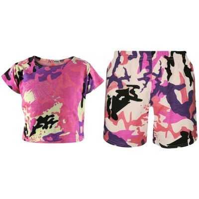 A2Z Trendz Kids Girls Crop Top & Cycling Shorts Baby Pink Camouflage Print Trendy Fashion Summer Outfit Short Sets New Age 5 6 7 8 9 10 11 12 13 Years