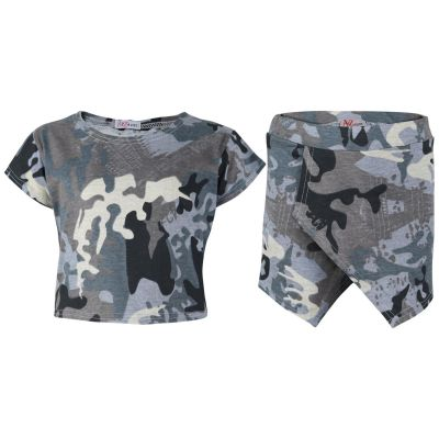 A2Z Trendz Kids Girls Tops Camouflage Charcoal Print Crop Top & Skort Skirt Shorts 2 Piece Fashion Summer Outfit Clothing Set New Age 7 8 9 10 11 12 13 Years