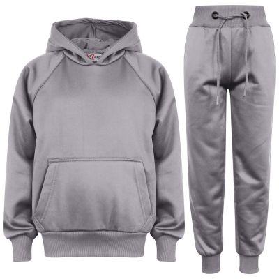 Girls Boys Plain Steel Grey Hooded Tracksuit
