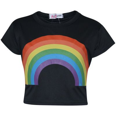 A2Z Trendz Kids Girls Crop Tops Rainbow Print Black Stylish Fahsion Trendy T Shirt Tank Top & Tees New Age 5 6 7 8 9 10 11 12 13 Years