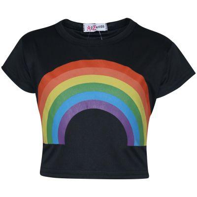 A2Z Trendz Kids Girls Crop Tops Rainbow Print Black Stylish Fahsion Trendy T Shirt Tank Top & Tees New Age 5 6 7 8 9 10 11 12 13 Years