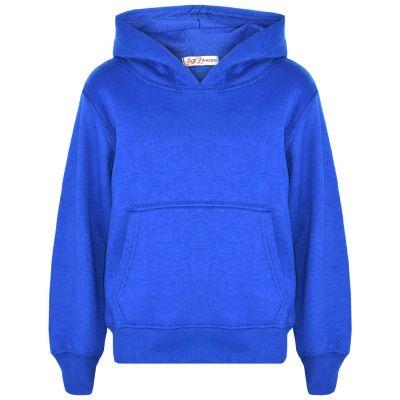 A2Z Trendz Kids Girls Boys Sweat Shirt Tops Designer's Casual Plain Royal Blue Pullover Sweatshirt Fleece Hooded Jumper Coats New Age 2 3 4 5 6 7 8 9 10 11 12 13 Years