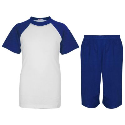 A2Z Trendz Kids Girls Boys Pyjamas Set Plain Royal Contrast Color Short Sleeves T Shirt Top & Knee Length Shorts Sleepwear Summer Outfit Sets Nightwear PJS New Age 2 3 4 5 6 7 8 9 10 11 12 13 Years
