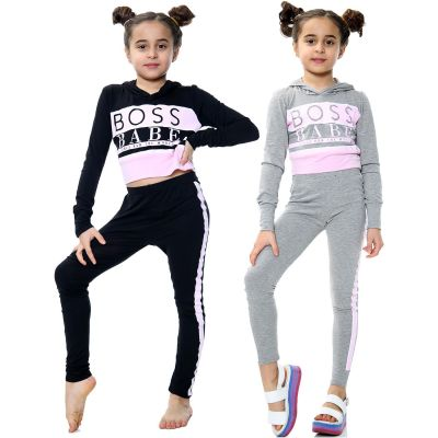 Kids Girls Boss Babe Printed Hooded Crop Top Fashion Legging Outfit Sets