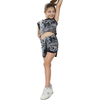 A2Z Trendz Kids Girls Shorts Set 100% Cotton Contrast Taped Trendy Fashion Summer Camouflage Charcoal T Shirt Top And Hot Short Pants Outfit Set New Age 5 6 7 8 9 10 11 12 13 Years