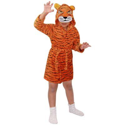 A2Z Trendz Kids Boys Girls Bathrobes Designer's 3D Animal Tiger Hooded Soft Short Fleece Dressing Gown Nightwear Loungewear Age 2-13 Years