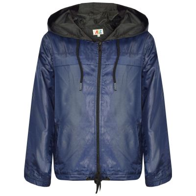A2Z Trendz Girls Boys Raincoats Jackets Kids Navy Lightweight Kag Mac Waterproof Hooded Jacket Cagoule Rain Mac Age 5 6 7 8 9 10 11 12 13 Years