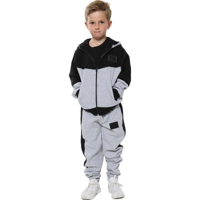 A2Z Trendz Unisex Tracksuit Kids Designer's A2Z Badged Contrast Panel Hooded - T.S 602 Grey 11-12