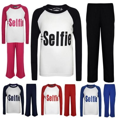 "Kids Girls Boys ""#SELFIE"" Printed Stylish Pyjamas New Age 5 6 7 8 9 10 11 12 13 Years"