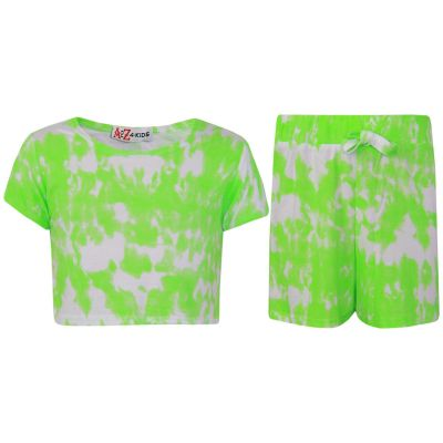 A2Z Trendz Kids Girls Crop Top & Shorts Tie Dye Print Neon Green Trendy Fashion Summer Outfit Short Sets New Age 7 8 9 10 11 12 13 Years