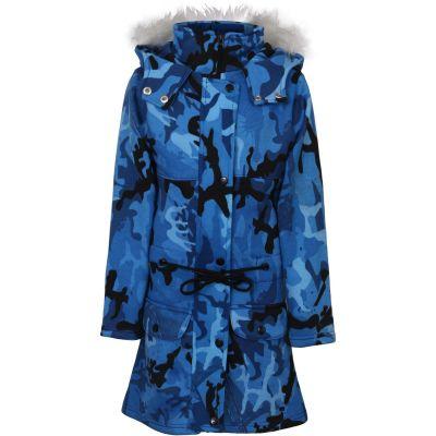Kids Girls Hooded Jacket Faux Fur Long Parka Camouflage Blue School Jackets Outerwear Coats