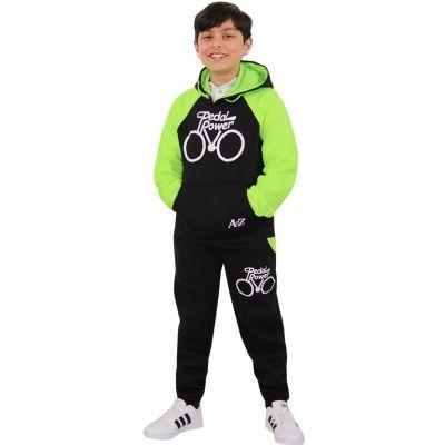 A2Z Trendz Boys Girls Tracksuit Kids Designer's Pedal Power Print Black & Neon Green Hooded Top & Botom Jogging Suit Joggers  5 6 7 8 9 10 11 12 13 Years