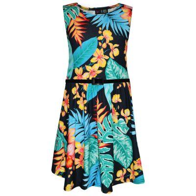 A2Z Trendz Girls Skater Dress Kids Black & Blue Floral Print Summer Party Fashion Dresses New Age 7 8 9 10 11 12 13 Years