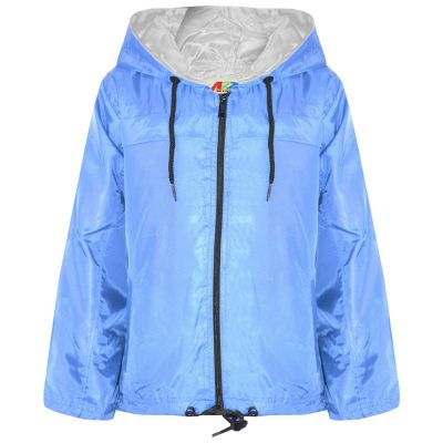A2Z Trendz Girls Boys Raincoats Jackets Kids Sky Blue Lightweight Kag Mac Waterproof Hooded Jacket Cagoule Rain Mac Age 5 6 7 8 9 10 11 12 13 Years
