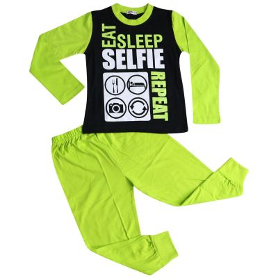A2Z Trendz Kids Girls Boys Pajamas Designer's Eat Sleep Selfie Repeat Print Cotrast Sleeves Lime Stylish Pyjamas Loungewear Nightwear PJS New Age 2 3 4 5 6 7 8 9 10 11 12 13 Years
