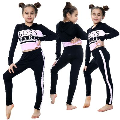 Kids Girls Boss Babe Printed Black Hooded Crop Top Fashion Legging Outfit Sets
