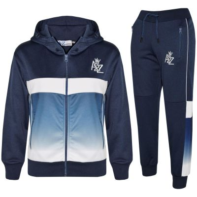 A2Z Trendz Kids Boys Girls Tracksuit 3D Digital Two Tone Gradient New Fashion A2Z Logo Embroidered Navy Zipped Top Bottom Jogging Suit Sports Joggers Age 5 6 7 8 9 10 11 12 13 Years