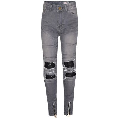 A2Z Trendz Kids Girls Stretchy Jeans Designer's Grey Ripped Knee Drape Panel Denim Pants Fit Trousers New Age 5 6 7 8 9 10 11 12 13 Years