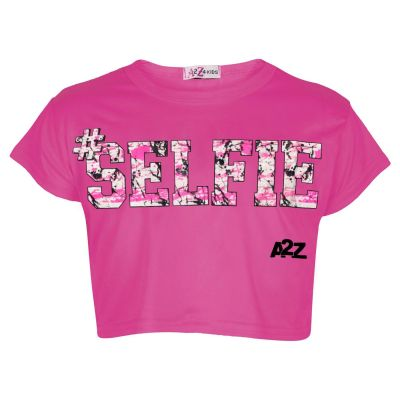 Kids Girls Crop Top #Selfie Pink Trendy Floss Fashion Stylish Belly Shirt Tees