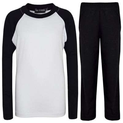 A2Z Trendz Kids Girls Boys Pyjamas Designer's Plain Black Cotrast Sleeves Stylish Nightwear PJS New Age 2 3 4 5 6 7 8 9 10 11 12 13 Years