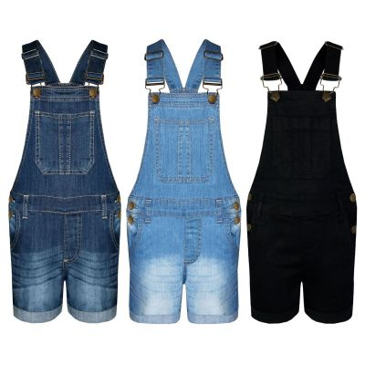 A2Z Trendz Kids Girls Denim Stretch Dungaree Shorts Jumpsuit Playsuit All In One New Age 7 8 9 10 11 12 13 Years