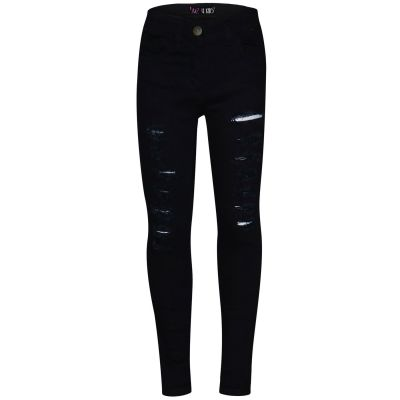 A2Z Trendz Kids Girls Skinny Jeans Designer's Jet Black Denim Ripped Stretchy Jeggings Pants Fashion Trousers New Age 5 6 7 8 9 10 11 12 13 Years
