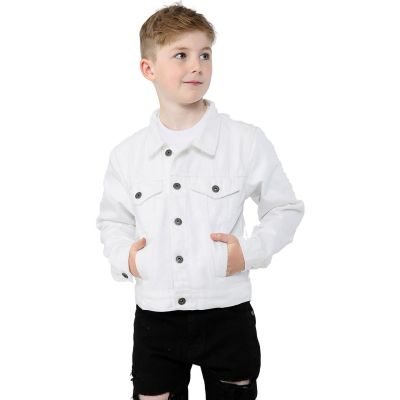 Kids Boys Jackets Designer White Denim Jeans Fashion Jacket Coat Age 3-13 Yr
