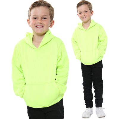 A2Z Trendz Kids Girls Boys Sweat Shirt Tops Designer's Casual Plain Neon Green Pullover Sweatshirt Fleece Hooded Jumper Coats New Age 2 3 4 5 6 7 8 9 10 11 12 13 Years