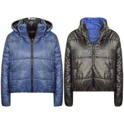 A2Z Trendz Girls Jacket Kids Designer's Navy Reversible Cropped Hooded Padded Quilted Puffer Jackets Warm Thick Coats New Age 5 6 7 8 9 10 11 12 13 Years