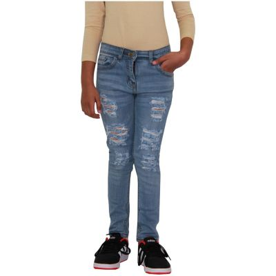 A2Z Trendz Kids Girls Skinny Jeans Designer's Denim Ripped Fashion Stretchy Jeggings Pants Stylish Mid Blue Trousers New Age 3 4 5 6 7 8 9 10 11 12 13 14 Years