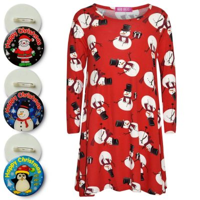 A2Z Trendz Girls Christmas Dress Kids Snowman Xmas Swing Dresses Top With A Free Xmas Badge New Age 3 4 5 6 7 8 9 10 11 12 13 Years