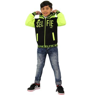 A2Z Trendz Kids Girls Boys Jackets Designer's #Selfie Embroidered Fashion Neon Green Zipped Top Hooded Hoodie Stylish Coat Age 5 6 7 8 9 10 11 12 13 Years