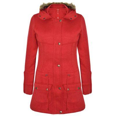 A2Z Trendz Kids Girls Coat Red Fleece Parka Jacket Faux Fur Hooded Long Fashion Winter Coats Age 5 6 7 8 9 10 11 12 13 Years