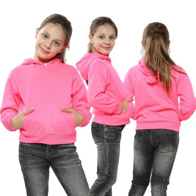Kids Girls Boys Sweat Shirt Tops Casual Plain Neon Pink Pullover Sweatshirt Fleece Hooded Jumpers