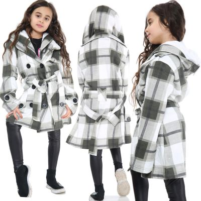 Kids Girls Hooded Trench Coat Fashion Warm Olive Check Jacket Oversized Lapels Belted Cuffs Long Overcoat.
