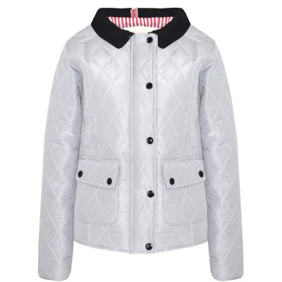 A2Z Trendz Kids Jackets Girls Grey Designer's Quilted Padded Collar Buttoned Zipped Jacket Warm Thick Coats Age 5 6 7 8 9 10 11 12 13 Years