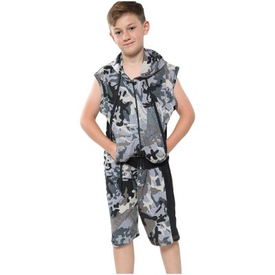A2Z Trendz Kids Girls Boys Shorts Set 100% Cotton Camouflage Charcoal Contrast Panelled Trendy Fashion Gilet Top & Short Pants Sportswear Outfit Clothing Sets New Age 5 6 7 8 9 10 11 12 13 Years