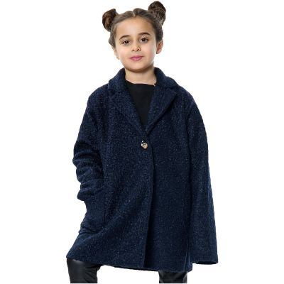 Kids Girls Jacket Designer's Teddy Petite Navy Sherpa Fashion Jackets Outerwear Coats.