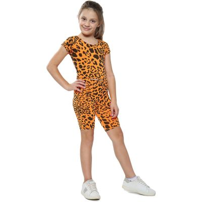 A2Z Trendz Kids Girls Crop Top & Cycling Shorts Neon Orange Leopard Print Trendy Fashion Summer Clothing Outfit Crop & Short Sets New Age 5 6 7 8 9 10 11 12 13 Years