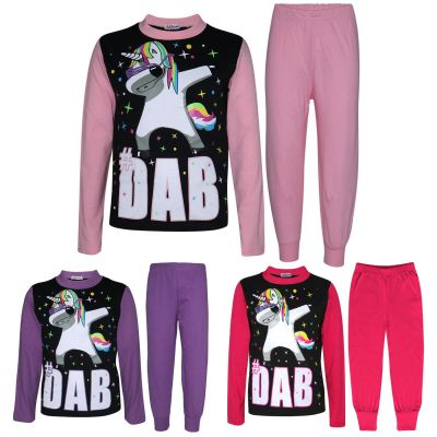 A2Z Trendz Kids Girls Pyjamas Designer's Dabbing Unicorn #Dab Print Contrast Sleeves Stylish Trendy Floss Fashion Loungewear Nightwear PJS Set New Age 5 6 7 8 9 10 11 12 13 Years