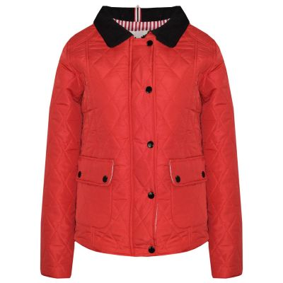 A2Z Trendz Kids Jackets Girls Red Designer's Quilted Padded Collar Buttoned Zipped Jacket Warm Thick Coats Age 5 6 7 8 9 10 11 12 13 Years
