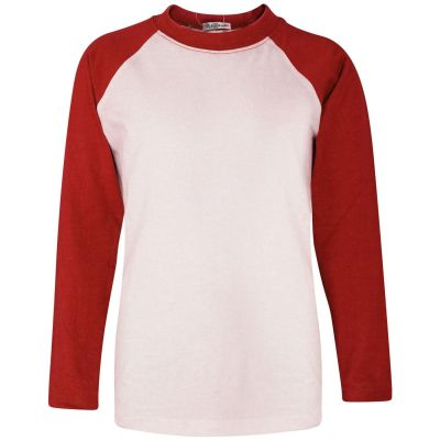 A2Z Trendz Kids Boys Girls Red T Shirts Designer's 100% Cotton Plain Baseball Long Raglan Sleeves Team Sports Tee Soft Feel Casual T-Shirts New Age 2 3 4 5 6 7 8 9 10 11 12 13
