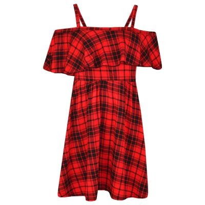 A2Z Trendz Girls Skater Dress Kids Red Tartan Print Summer Party Fashion Off Shoulder Dresses New Age 7 8 9 10 11 12 13 Years