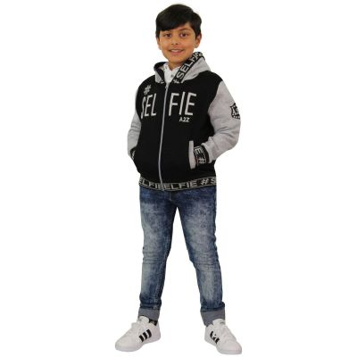 A2Z Trendz Kids Girls Boys Jackets Designer's #Selfie Embroidered Fashion Grey Zipped Top Hooded Hoodie Stylish Coat Age 5 6 7 8 9 10 11 12 13 Years