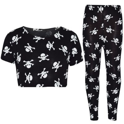 A2Z Trendz Kids Girls Designer's Skull & Cross Bones Print Crop Top & Legging Set Halloween Costume New Age 7 8 9 10 11 12 13 Years