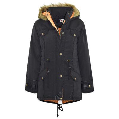 Kids Girls Boys Jacket DESIGNER'S Black Parka Coat Faux Fur Hooded Top Christmas Gift 3-13 Years
